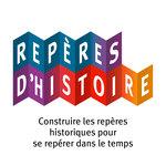 Logo en couleur et en accordéon du coffret pédagogique Repères d'Histoire publié par Accès Éditions.