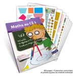 Mise en situation de l'outil pédagogique Maths au CE1 Cahier de l'élève avec un aperçu des planches cartonnées fournies avec.