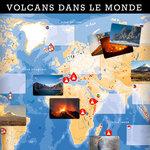 Aperçu de la planche et des cartes de l'activité Volcan dans le monde du coffret pédagogique Sciences à vivre CM1-CM2.