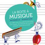 Zoom sur l'illustration de La Boite à Musique sur laquelle des dessins d'enfants s'amusent avec des instruments de musique.