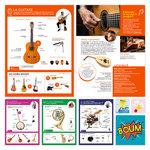 Fiches de différents instruments disponibles dans le coffret La Boite à Musique publié par ACCÈS Éditions.