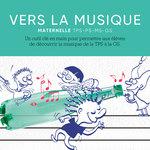 Zoom sur l'illustration du livre pédagogique Vers la Musique sur laquelle des enfants jouent de la musique avec une bouteille.