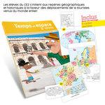 Présentation du guide pédagogique Temps et Espace à vivre CE2 et aperçu des cartes de géographie fournies avec l'ouvrage.