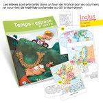 Présentation du guide pédagogique Temps et Espace à vivre CE1 et aperçu des cartes de géographie fournies avec l'ouvrage.