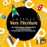 Zoom sur l'illustration jaune avec des lettres blanches du coffret Vers l'écriture grande section publié par Accès Éditions.