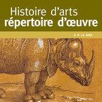 Focus sur l'illustration de rhinocéros de la couverture de l'outil Histoires d'arts répertoire d'œuvres d'ACCÈS Éditions.