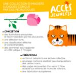 Explication des points clés de la conception et de la fabrication de la collection Mes Imajeux d'ACCÈS Jeunesse.