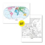 Aperçu de la carte du monde (couleur) et la carte de l'Europe (N&B) fournies dans le Lot de 6 cartes murales de géographie.