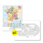 Aperçu de la carte de la France (couleur) et la carte du monde (N&B) fournies dans le Lot de 6 cartes murales de géographie.
