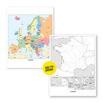 Aperçu de la carte de l'Europe (couleur) et la carte de la France (N&B) fournies dans le Lot de 6 cartes murales de géographie.