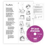 Aperçu d'une des pages d'exercice et du CD complément numérique du livre 29 Jeux d'Écoute 4 à 6 ans publié par ACCÈS Éditions.