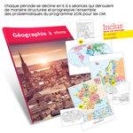 Présentation du guide pédagogique Géographie à vivre CM1 et aperçu des cartes de géographie fournies avec l'ouvrage.