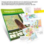 Présentation du guide pédagogique Géographie à vivre CM2 et aperçu des cartes de géographie fournies avec l'ouvrage.