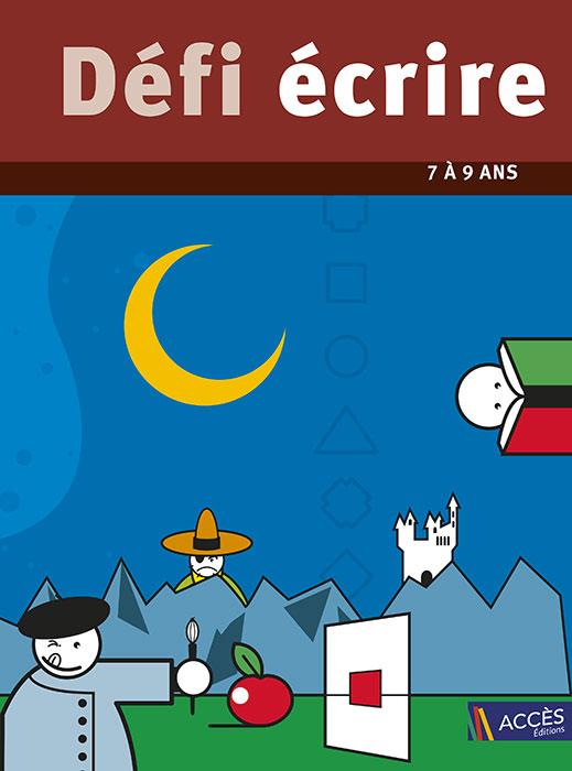 Dessin de nuit d'une montagne avec un personnage qui peint et l'autre lit un livre sur la couverture de Défi Écrire.