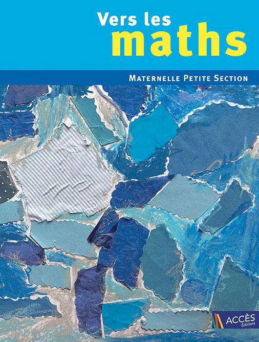 Collage de gouache bleue qui représente la couverture de l'ouvrage pédagogique Vers les Maths maternelle petite section.