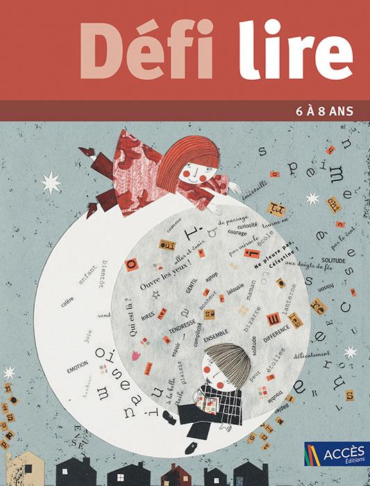 Deux enfants entourés de mots jouent sur la lune sur la couverture de l'ouvrage Défi Lire publié par Accès Éditions.
