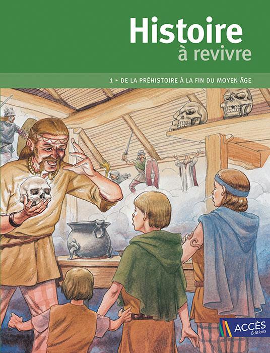 Couverture du livre pédagogique Histoire à revivre Tome 1 illustrée par un homme racontant une bataille à des enfants.