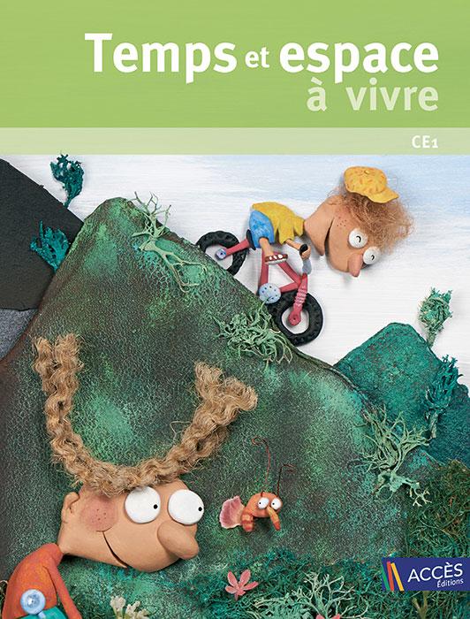 Couverture du livre pédagogique Temps et Espace à vivre CE1 illustrée par des enfants qui explorent une montagne.