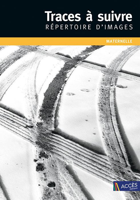 Couverture du coffret Traces à Suivre Répertoire d'Image Maternelle représentée par une photo de traces de pneus dans la neige.