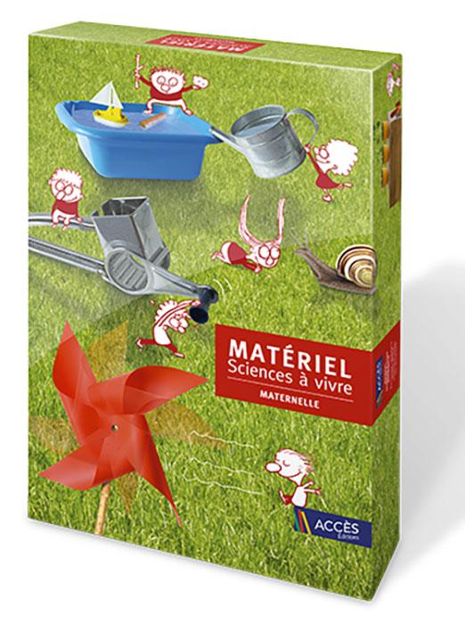 Coffret Sciences à vivre maternelle illustré par des dessins d'enfants interagissent et expérimentent avec divers objets.
