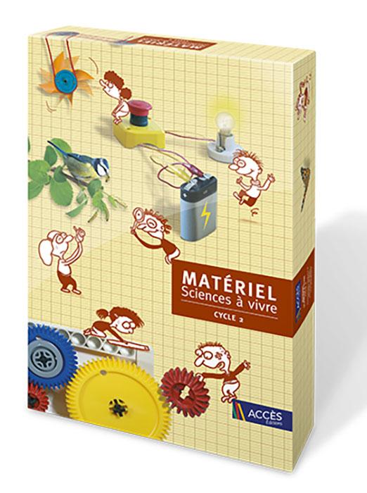 Coffret Sciences à vivre Cycle 2 illustré par des dessins d'enfants interagissent et expérimentent avec divers objets.