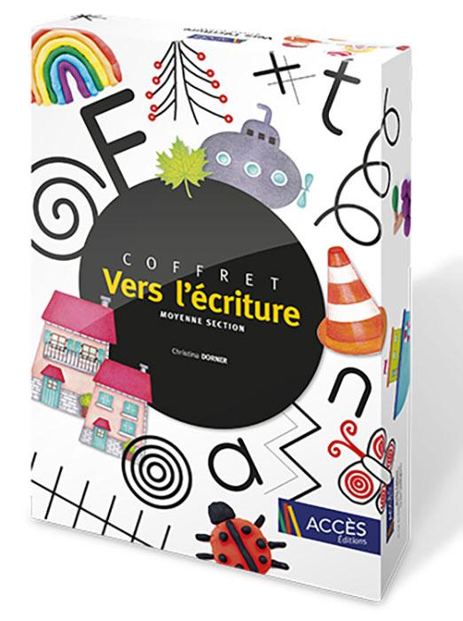 Coffret pédagogique Vers l'écriture moyenne section publié par Accès Éditions illustré avec les images des activités proposées.