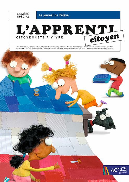 Couverture du journal de l'élève l'Apprenti Citoyen représentant des enfants fabriquant le drapeau français en patchwork.