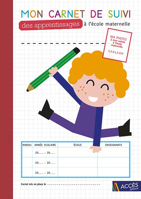 Couverture de l'outil Mon carnet de suivi des apprentissages à l'école maternelle illustrée par un enfant qui saute de joie.