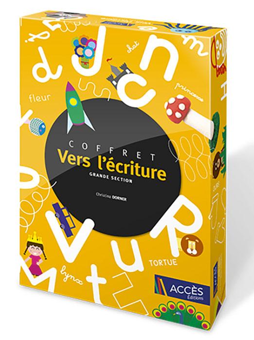 Coffret pédagogique Vers l'écriture grande section publié par Accès Éditions illustré avec des lettres et des dessins.
