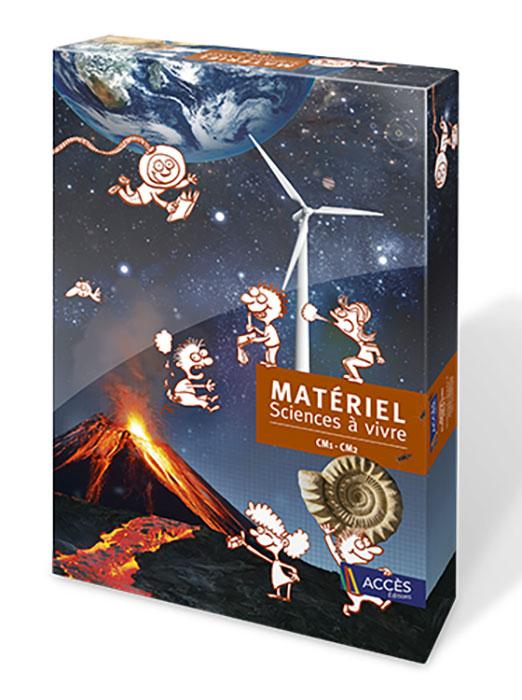 Coffret Sciences à vivre CM1-CM2 illustré par un volcan en éruption, la Terre vue de l'espace et des enfants qui jouent.