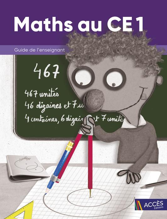 Enfant dessinant un cercle au compas sur la couverture du Guide de l'Enseignant Maths au CE1 publié par ACCÈS Éditions.