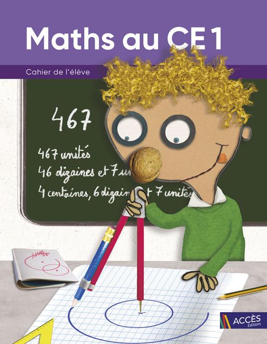 Enfant dessinant un cercle au compas sur la couverture du Cahier de l'Élève Maths au CE1 publié par ACCÈS Éditions.