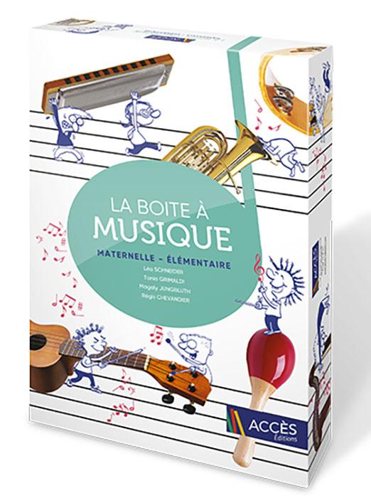 Des dessins d'enfant interagissent avec de vrais instruments de musique sur le coffret pédagogique La Boite à Musique.