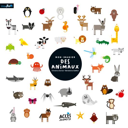 Couverture du livre Mon Imagier des Animaux de la collection Mes Imajeux d'ACCÈS Jeunesse illustrée par des petits animaux.