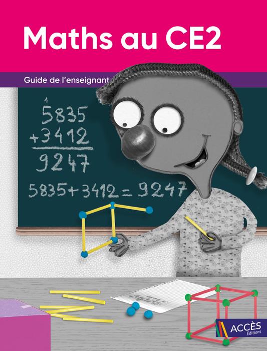 Enfant fabriquant un cube avec des bâtonnets sur la couverture du Guide de l'Enseignant Maths au CE2 publié par ACCÈS Éditions.