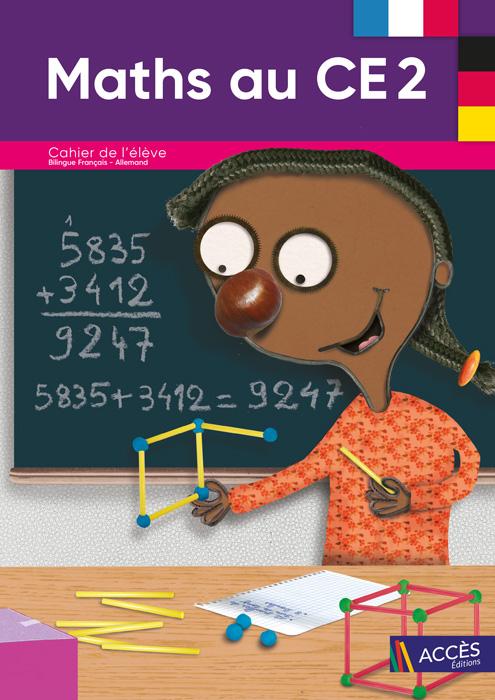 Enfant fabriquant un cube avec des bâtonnets sur la couverture du Cahier de l'élève bilingue Maths au CE2 publié par ACCÈS Éditions.