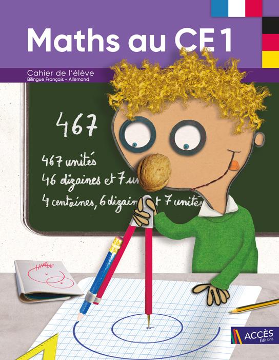 Enfant dessinant un cercle au compas sur la couverture du Cahier de l'Élève Bilingue Maths au CE1 publié par ACCÈS Éditions.