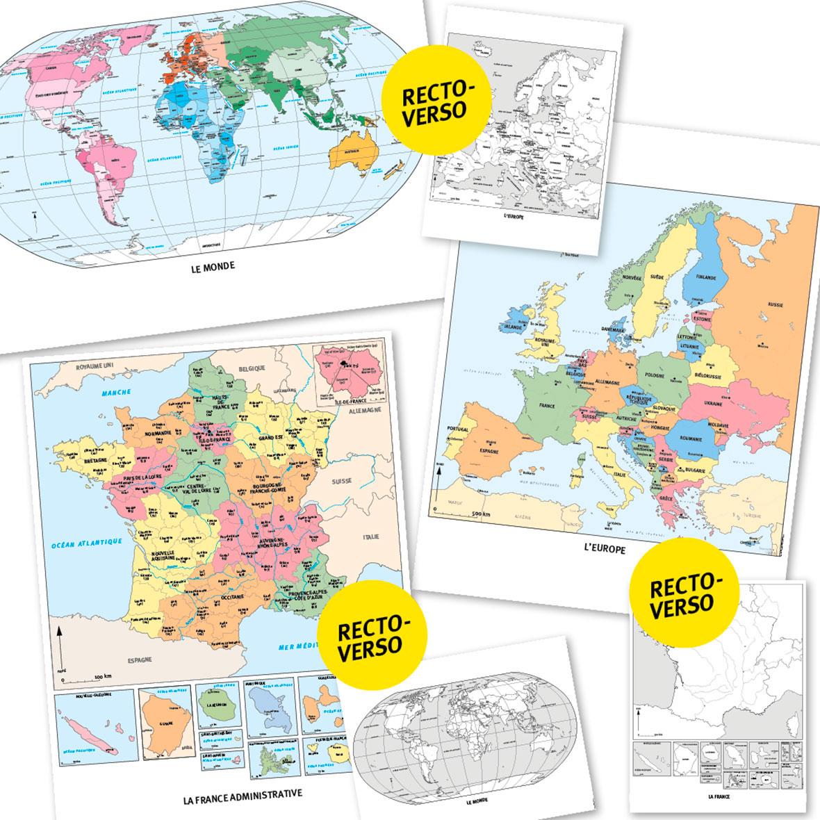 Aperçu des cartes disponibles dans l'outil complémentaire Lot de 6 cartes murales de géographie.