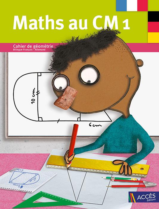 Enfant dessinant une forme géométrique sur la couverture du Cahier de Géométrie et de matériel Bilingue Maths au CM1 publié par ACCÈS Éditions.