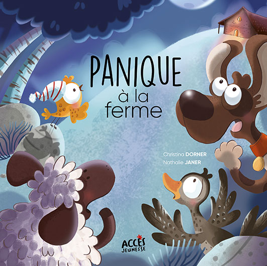 Couverture du livre jeunesse Panique à la ferme d'Accès Jeunesse illustrée par des animaux apeurés regardant une ferme durant la nuit.