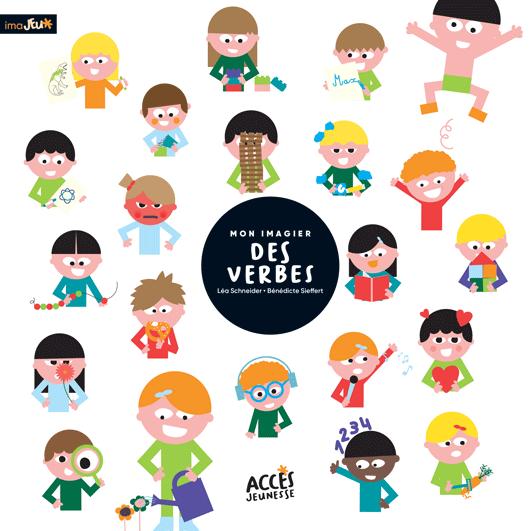 Couverture du livre Mon Imagier des verbes d'ACCÈS Jeunesse illustrées par des enfants qui font des activités.