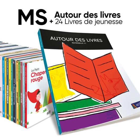 Aperçu du lot guide pédagogique Autour des livres MS et 24 livres ACCÈS Jeunesse.