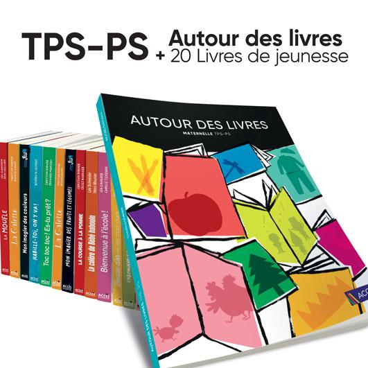 Aperçu du lot guide pédagogique Autour des livres TPS-PS et 20 livres ACCÈS Jeunesse.